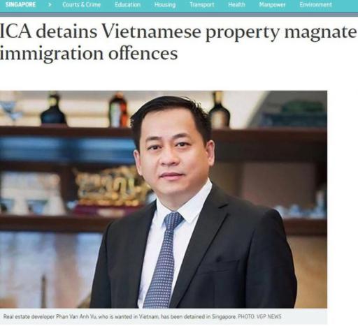 Hình ảnh Phan Van Anh Vu đăng trên báo Singapore.