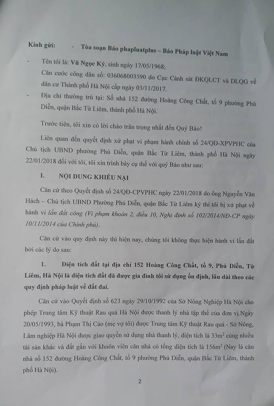 Đơn phản ánh của ông Vũ Ngọc Ký gửi tòa soạn Pháp luật Plus.