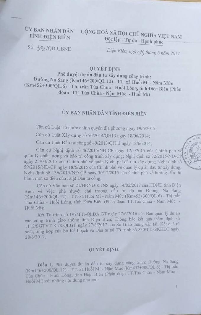 Quyết định phê duyệt dự án của UBND tỉnh Điện Biên.