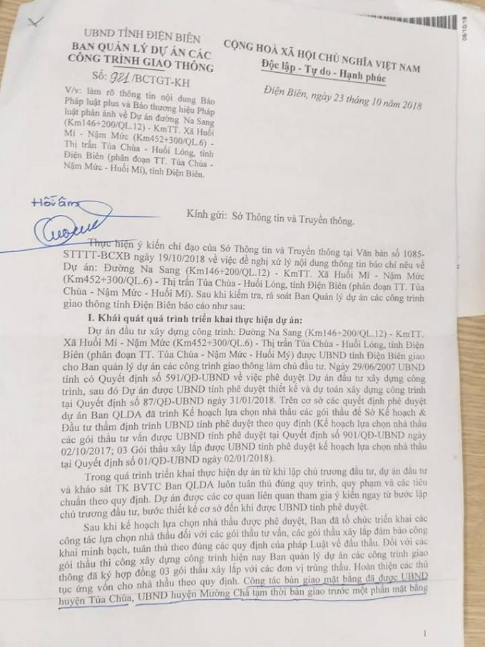 Văn bản phản hồi của Ban QLDA các công trình giao thông Điện Biên