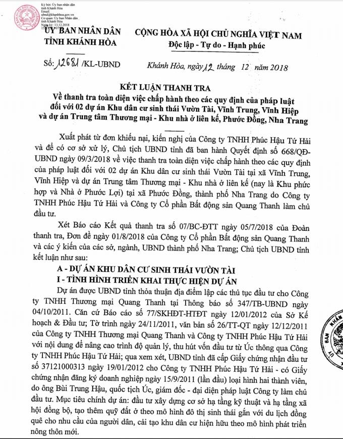 UBND tỉnh Khánh Hòa cho phép nhà đầu tư tiếp tục thực hiện dự án