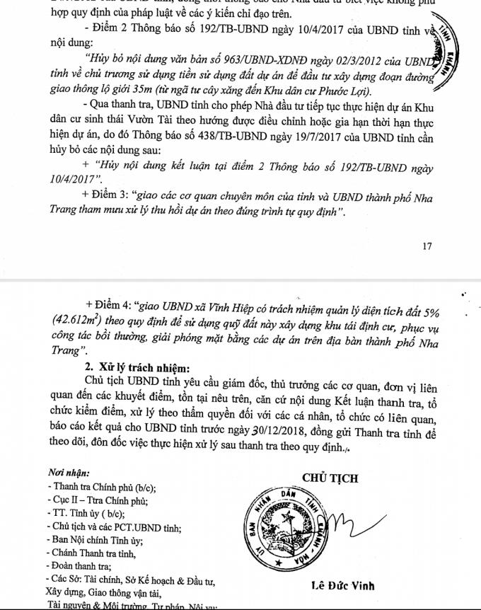 Kết luận của Thanh tra tỉnh yêu cầu xử lý nghiêm các cán bộ liên quan.