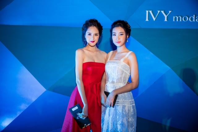 Hoa hậu Mỹ Linh (váy trắng).