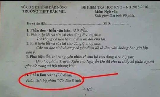 Cư dân mạng đang truyền tay nhau hình ảnh đề thi học kỳ 2 môn Ngữ văn của trường THPT Đăk Mil khi đưa phim Cô dâu 8 tuổi để học sinh phân tích.