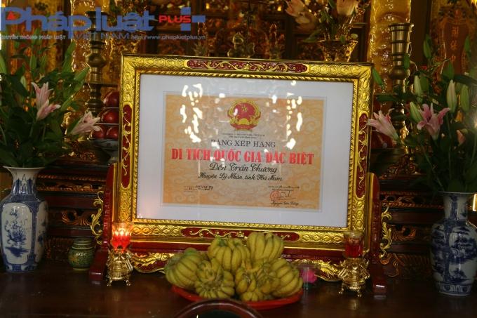 Bằng xếp hạng di tích Quốc gia Đặc biệt Đền Trần Thương của Thủ tướng Chính phủ.