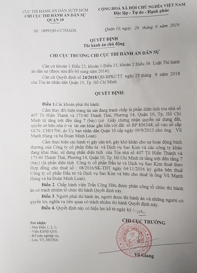 Quyết định của Chi Cục Thi hành án dân sự quận 10.