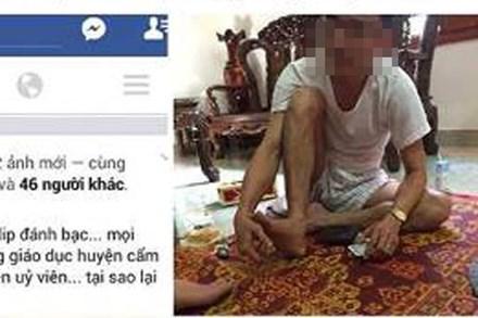 Hình ảnh được đăng tải trên Facebook cho rằng trưởng phòng GD huyện Cẩm Xuyên đánh bạc.