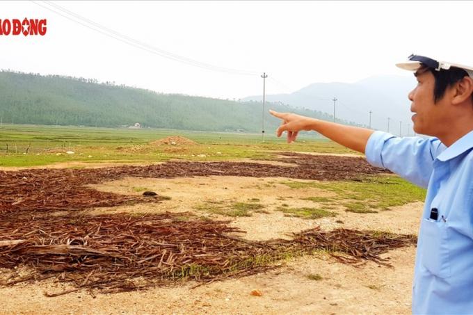 Ông Nguyễn Thành Vinh - Phó Phòng kỹ thuật an toàn; phụ trách giải phóng mặt bằng thuộc Dự án Trung tâm nhiệt điện Quảng Trạch - tại khu vực triển khai dự án. Ảnh: Lê Phi Long