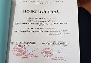 Hồ sơ mời thầu gói thầu xây lắp của dự án lát vỉa hè đoạn Nam Tiến - THuận Thành (thị xã Phổ Yên, tỉnh Thái Nguyên).