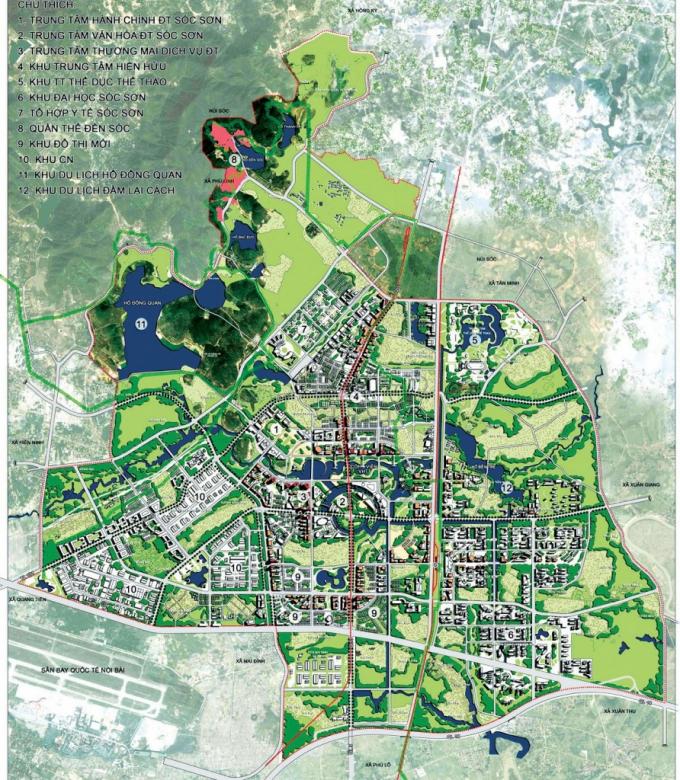 Mặt bằng tổ chức không gian QHC đô thị vệ tinh Sóc Sơn (Hà Nội)