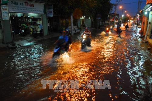 Chiều tối ngày 6/12/2017, triều cường ở một số khu vực trên địa TP Hồ Chí Minh tiếp tục dâng cao đạt đỉnh đạt mức 1,66 m tại trạm Nhà Bè (vượt mức báo động 3) làm nhiều tuyến đường ngập sâu trong nước. Ảnh: Mạnh Linh/TTXVN