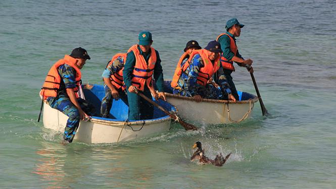 Quân và dân tham gia trò chơi bắt vịt ở âu tàu