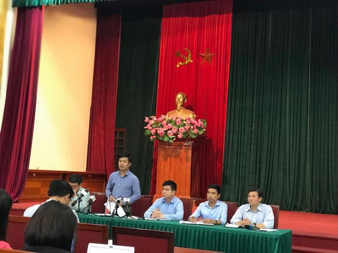 Ông Đỗ Minh Tuấn – Phó chủ tịch UBND huyện Sóc Sơn tại buổi giao ban báo chí chiều ngày 16/10/2018.