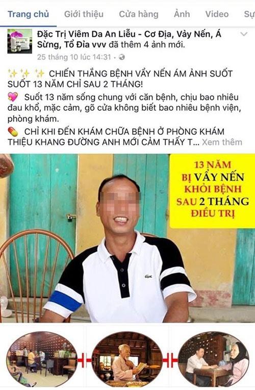 """Tháng 11.2016, bệnh nhân Lê Văn Phúc (Kim Chung, Đông Anh, Hà Nội) từng """"tố"""" Thiệu Khang Đường sử dụng hình ảnh của mình để quảng cáo láo."""