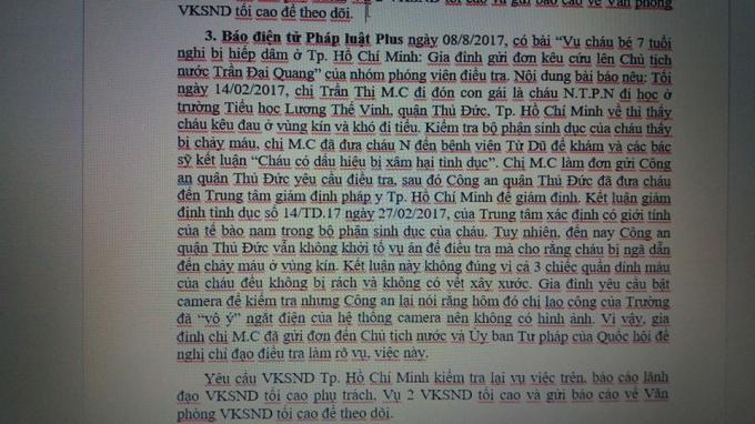 Văn bản của VKSND tối cao yêu cầu VKSND TP HCM xem xét lại vụ việc đăng tải trên báo Phapluatplus.vn.