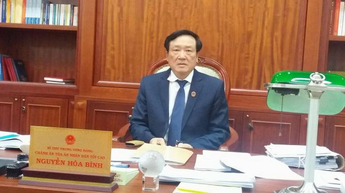 Ông Nguyễn Hòa Bình, Bí thư Trung ương Đảng, Chánh án Tòa án nhân dân tối cao (Ảnh: Ly Ly).