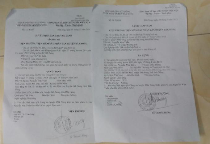 Lệnh tạm giam và gia hạn tạm giam đối với ông Nguyễn Văn Tuấn.