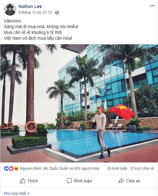 Nathan Lee mua nhà 6 tỷ sau chiến thắng của Việt Nam trước Philippines