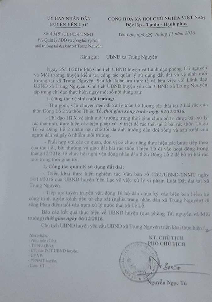 Công văn số 1319 của UBND huyện Yên Lạc gửi UBND xã Trung Nguyên về việc Quản lý SDĐ và công tác vệ sinh môi trường tại địa bàn xã.