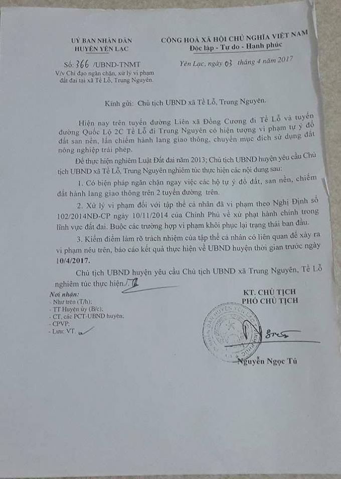 Công văn số 366 của UBND huyện Yên Lạc về việc chỉ đạo ngăn chặn, xử lý vi phạm đất đai tại xã Tề Lỗ, Trung Nguyên.