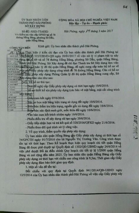 Văn bản của Sở Xây dựng gửi UBND TP Hải Phòng.