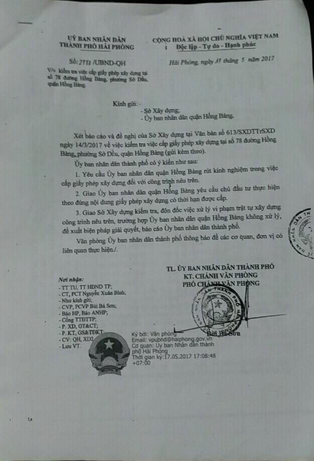 Văn bản của UBND TP Hải Phòng gửi Sở Xây Dựng, UBND quận Hồng Bàng.