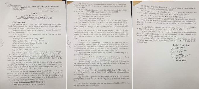 Báo cáo 233 của công đoàn Tổng công ty vận tải Hà Nội.