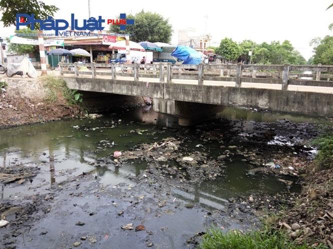 Dù đã được nạo vét cách đây không lâu nhưng dưới chân cầu Điện Biên vẫncònđầy rác.
