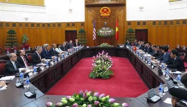 Quang cảnh buổi hội kiến giữa Tổng thống Obama và Thủ tướng Nguyễn Xuân Phúc.