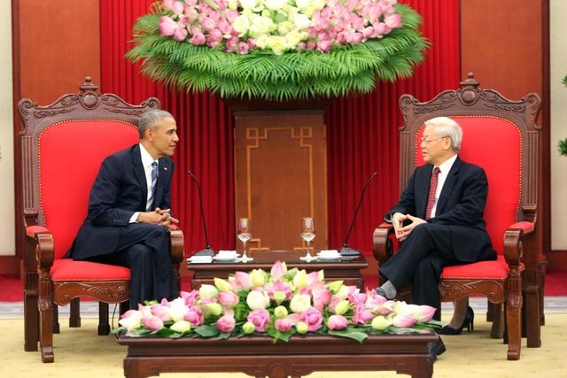 Tổng Bí thư Nguyễn Phú Trọng gặp gỡ Tổng thống Obama.(Ảnh: Dân trí)