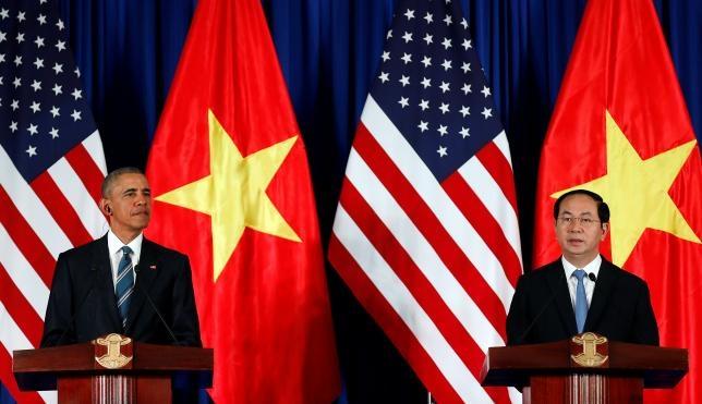 Chủ tịch nước Trần Đại Quang và Tổng thống Obama. (Ảnh: Reuters)
