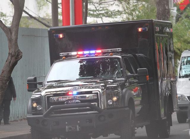 Đoàn xe bảo vệ Tổng thống Obama. (Ảnh: Dân trí)