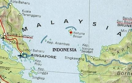 Vị trí quần đảo Natuna.