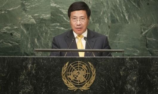 Phó Thủ tướng, Bộ trưởng Bộ Ngoại giao Phạm Bình Minh phát biểu tại phiên họp. (Ảnh: UN)