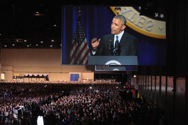 Rất đông khán giả đã có mặt tại hội trường để lắng nghe bài phát biểu của Tổng thống Obama. ( Ảnh: GT)