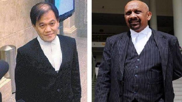 Hai luật sư bào chữa cho Đoàn Thị Hương là ông Hisyam Teh Poh Teik (trái) và Naran Singh (phải). (Ảnh: Star)