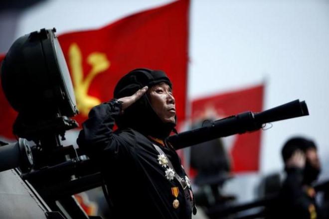 Binh sĩ Triều Tiên trong lễ duyệt binh ngày 15/4. Ảnh:Reuters.