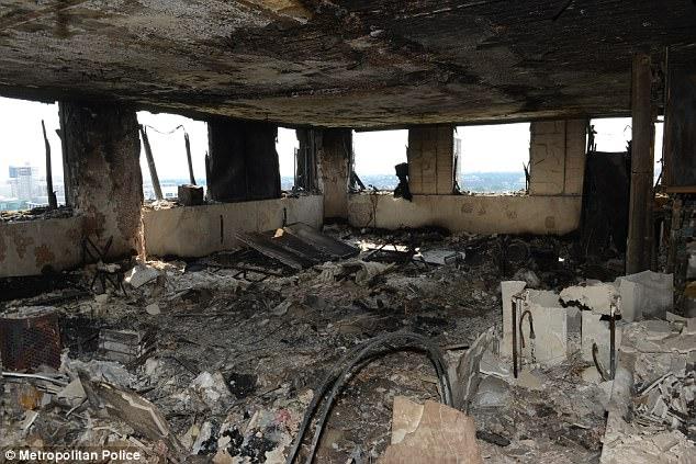 Nhũng gì còn sót lại sau vụ hỏa hoạn kinh hoàng xảy ra hôm 14/6 tạitòa tháp Grenfell.