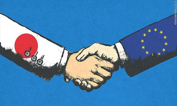 Nhật Bản và EU vừa hoàn thành thỏa thuận tự do thương mại lớn nhất thế giới. (Ảnh: CNN)
