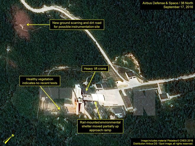 Bãi thử hạt nhân Punggye-ri của Triều Tiên. (Nguồn: TPX/TTXVN)