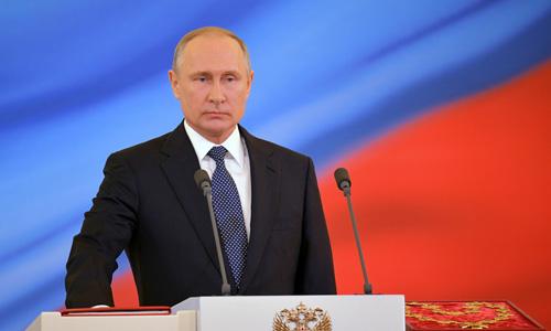 Tổng thống Vladimir Putin tại lễ tuyên thệ nhậm chức ngày 7/5. (Ảnh: Reuters).