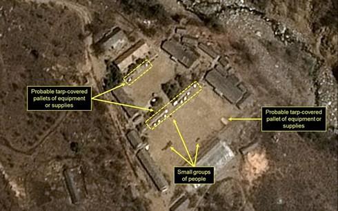 Hình chụp vệ tinh bãi thử Punggye-ri (Ảnh: Reuters)
