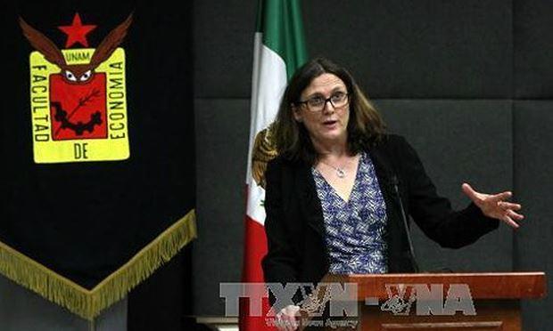 Bà Cecilia Malmstrom, Ủy viên phụ trách thương mại của Liên minh châu Âu. Ảnh: EPA/TTXVN.