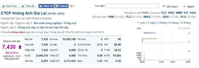 Cổ phiếu HAG tăng giá lên mức 7.430 đồng, và không có để mua.