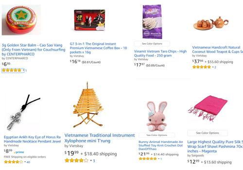 Một số mặt hàng Việt Nam, trong tổng số hơn 20.000 loại hàng hóaErik Frankel bán trên trang thương mại điện tử Amazon, bao gồm cao Sao Vàng, cafe Trung Nguyên, khăn lụa, thú bông đan len, vòng cổ bằng thiếc và bộ ấm chén làm từ vỏ dừa. Ảnh:Amazon.