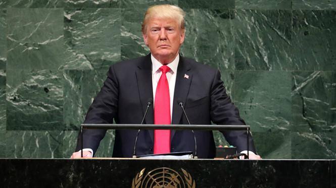 Tổng thống Mỹ Donald Trump phát biểu tại Đại Hội đồng Liên Hợp Quốc. Ảnh: Reuters