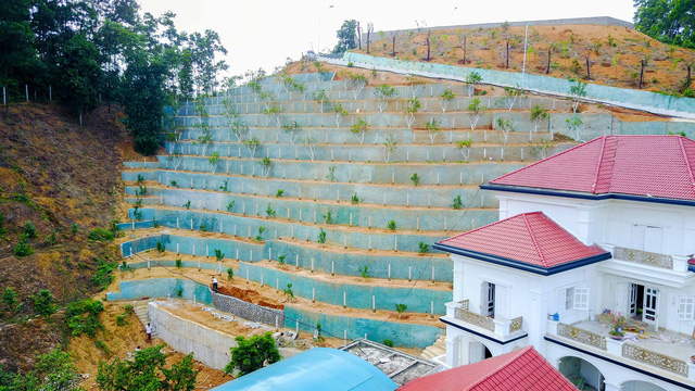 ... phía sau được bố trí trồng cây theo các bậc thang bám vào triền đồi