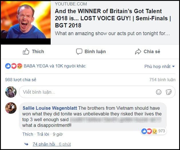 Hiện tại, lúc này, trên trang fanpage (Facebook) của cuộc thi, dưới clip của tân quán quân, bình luận nhận được nhiều hưởng ứng nhất là của tài khoản Sallie Louise Wagenblatt: