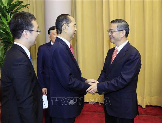 Cũng trong chiều 19/9/2018, tạiPhủ Chủ tịch,Chủ tịch nước Trần Đại Quangtiếp đồng chí Chu Cường, Chánh án Toà án nhân dân Tối cao Trung Quốc thăm và làm việc tại Việt Nam. Ảnh: TTXVN