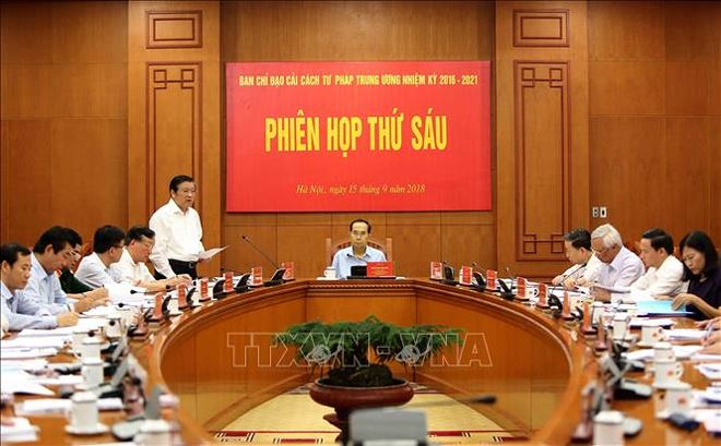 Sáng 15/9/2018, tại Trụ sở Trung ương Đảng,Chủ tịch nước Trần Đại Quangchủ trì Phiên họp thứ sáu của Ban Chỉ đạo cải cách Tư pháp Trung ương. Ảnh: TTXVN